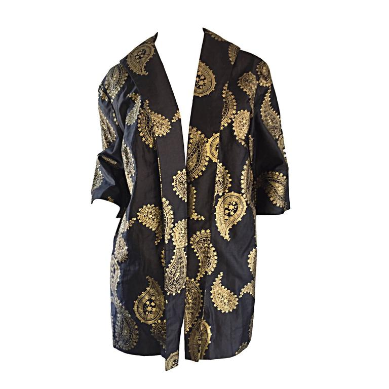 Rare 1950s Alfred Shaheen Vintage 50s Black And Gold Hand Printed Kimono Jacket For Sale