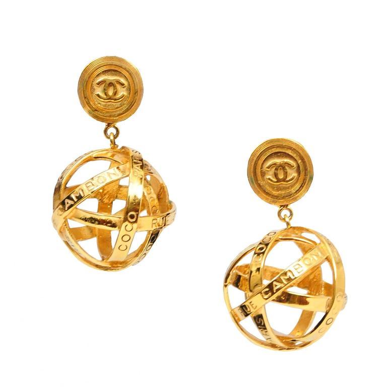 chanel gold woven globe earrings at 1stdibs