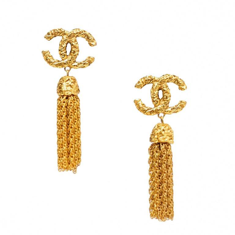 chanel gold cc tassel earrings at 1stdibs