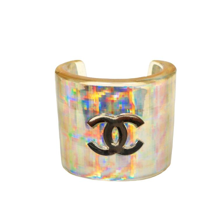 Chanel Acrylic Hologram Cuff For Sale at 1stdibs