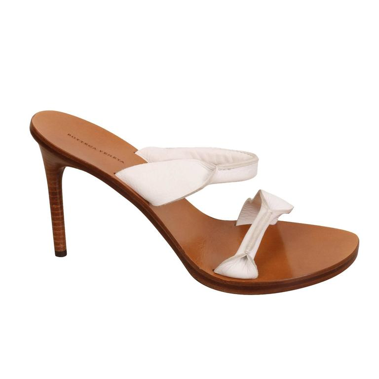 Bottega Veneta White Strap Mule Shoes At 1stdibs