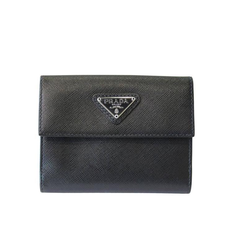 6a376762ae90 Prada Black Saffiano Leather Bi-Fold Wallet in Box at 1stdibs