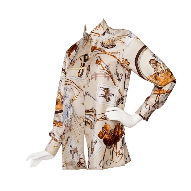 A 1980s Vintage Hermès Twill Silk Blouse