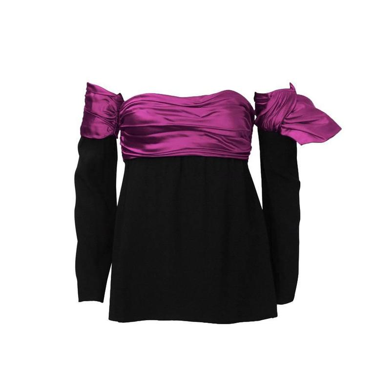 1980's Lanvin Black and Pink Strapless Bustier with Optional Sleeve For Sale