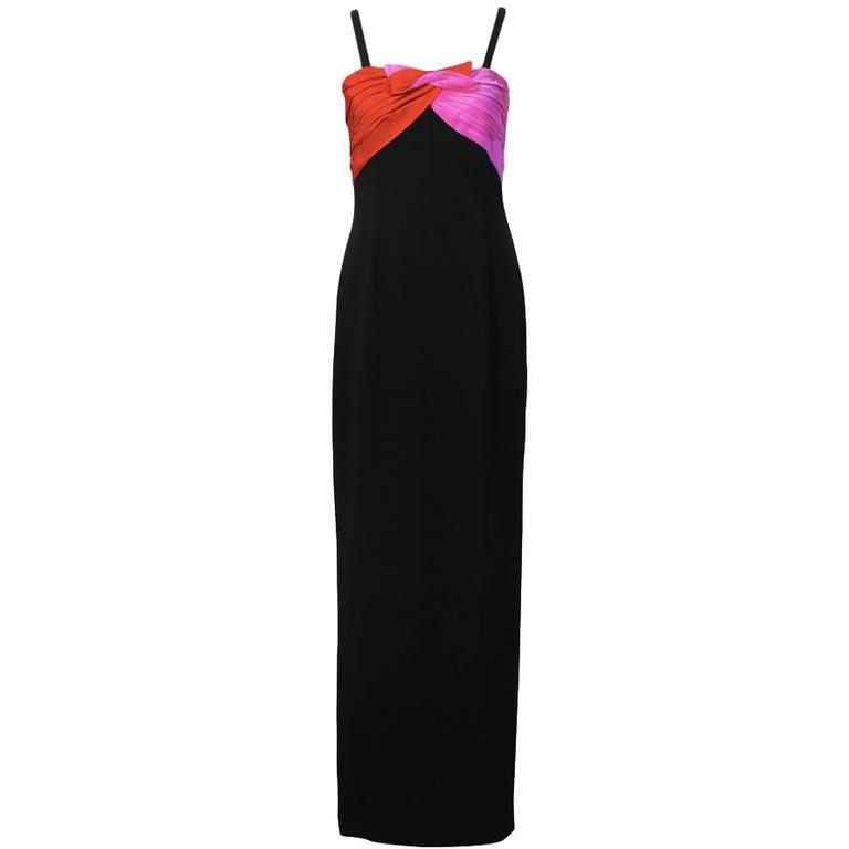 197'0s Bill Blass Black Gown with Red & Pink Details
