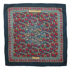 """Hermes """"Chasse en Inde"""" Blue & Red Silk Small Pocket Scarf"""