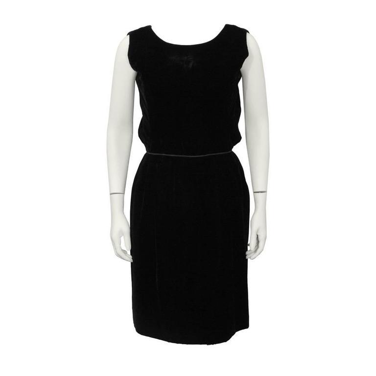1960's Christian Dior London Black Velvet Cocktail Dress