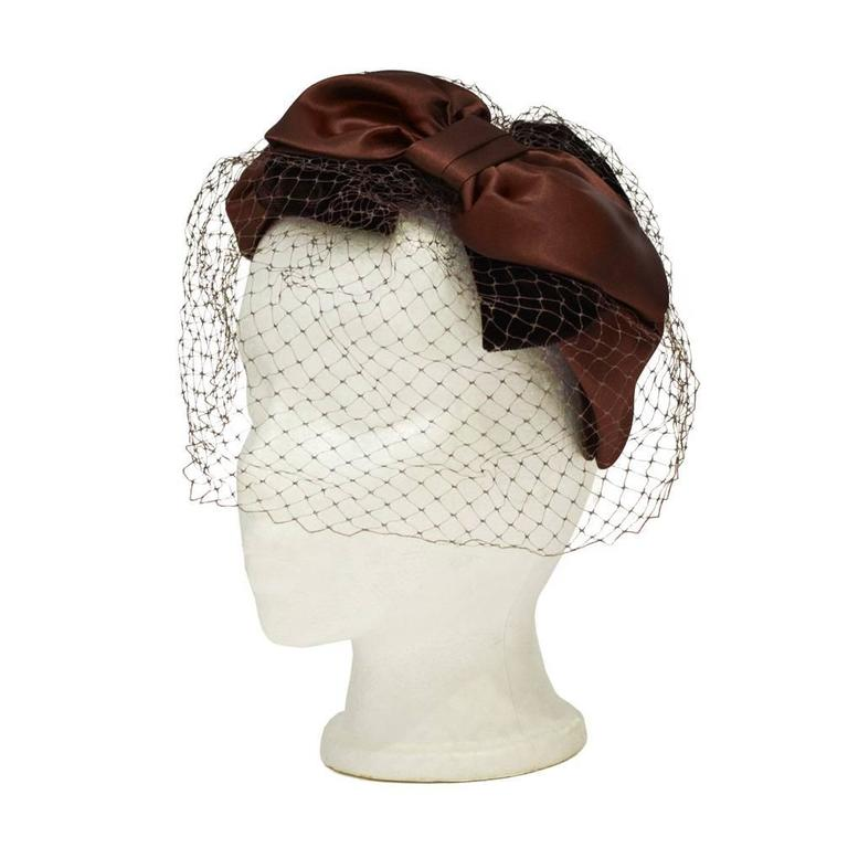 1950's Brown Satin and Net Evening Fascinator Hat 1