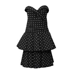 1980's CD de Christian Dior Black and White Polka Dot Cocktail Dress
