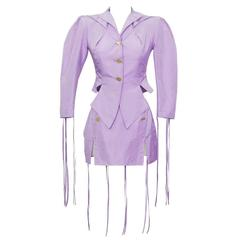 1980's VIvienne Weswood Lilac Garter Skirt Suit