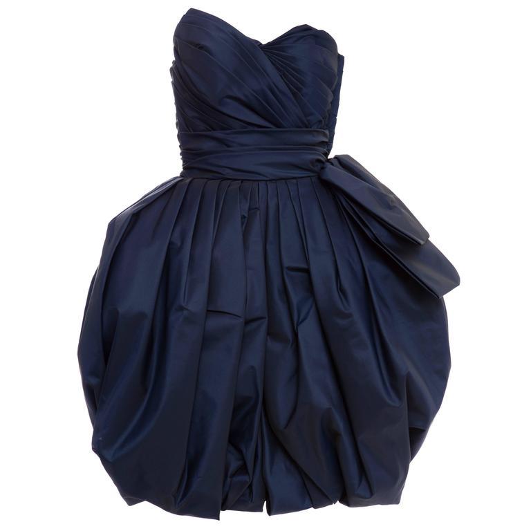 Victor Costa Navy Blue Strapless Taffeta Bubble Party Dress, Circa 1980's