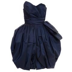 Victor Costa Navy Blue Strapless Taffeta Bubble Party Dress, Circa 1980's