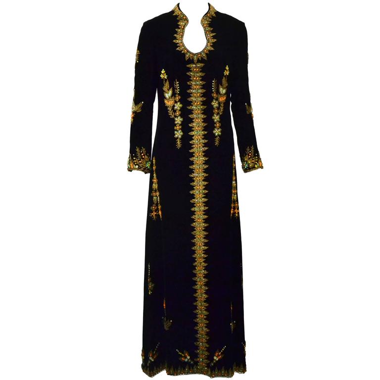 VIntage Black Velvet Hand Beaded Embroidered Caftan/Maxi Gown 1