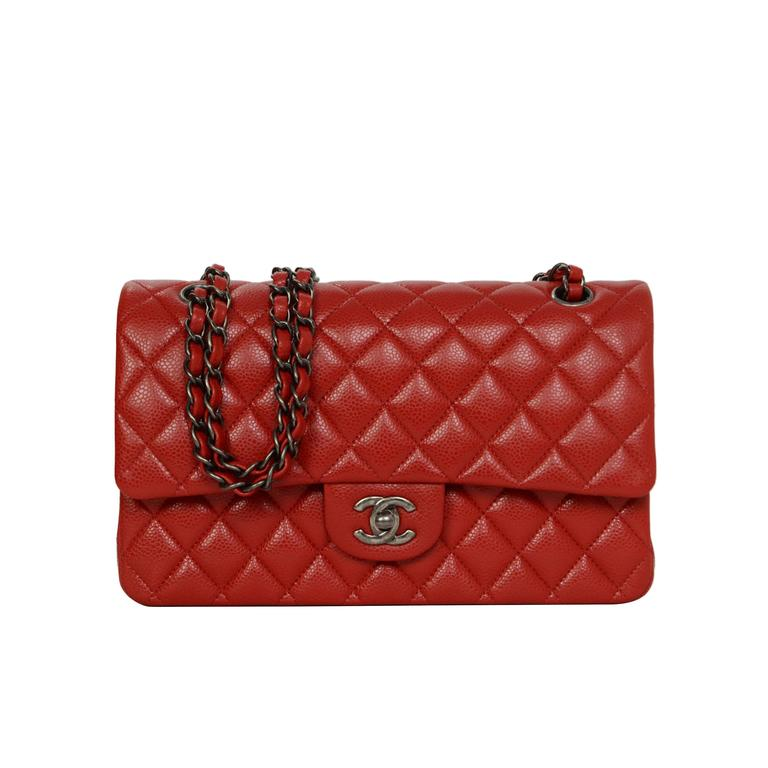 4f8adc65e127 Chanel Red Caviar Medium Classic Double Flap Bag SHW at 1stdibs
