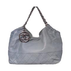 Chanel Blue Leather Quilted Shoulder Bag Tote