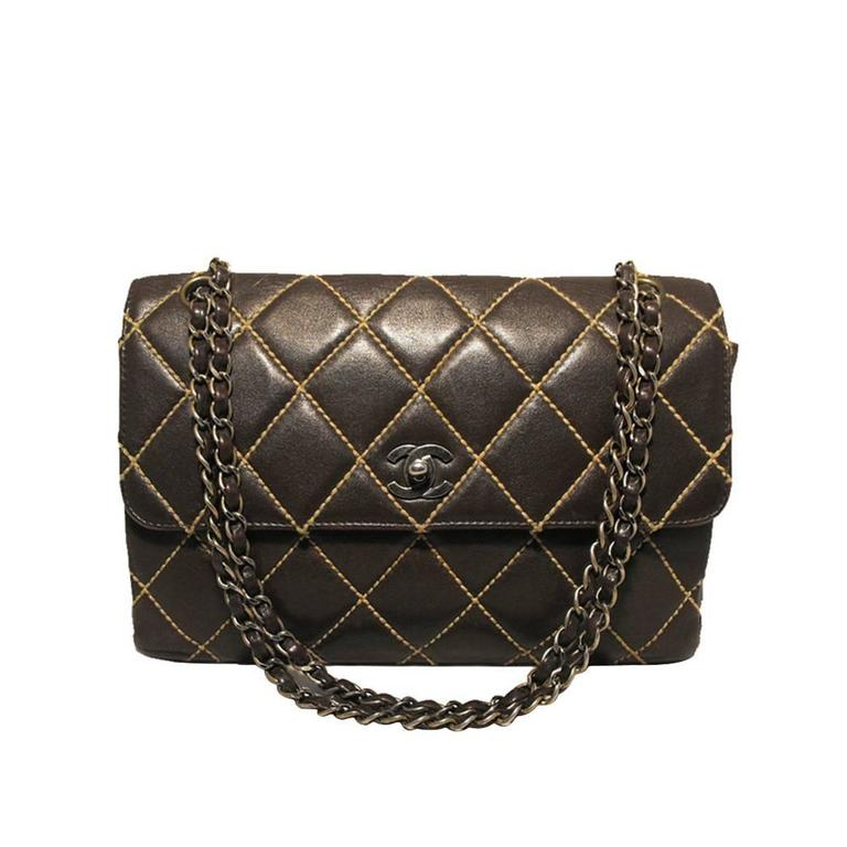 Chanel Brown Leather Maxi Flap Topstitch Classic Shoulder Bag
