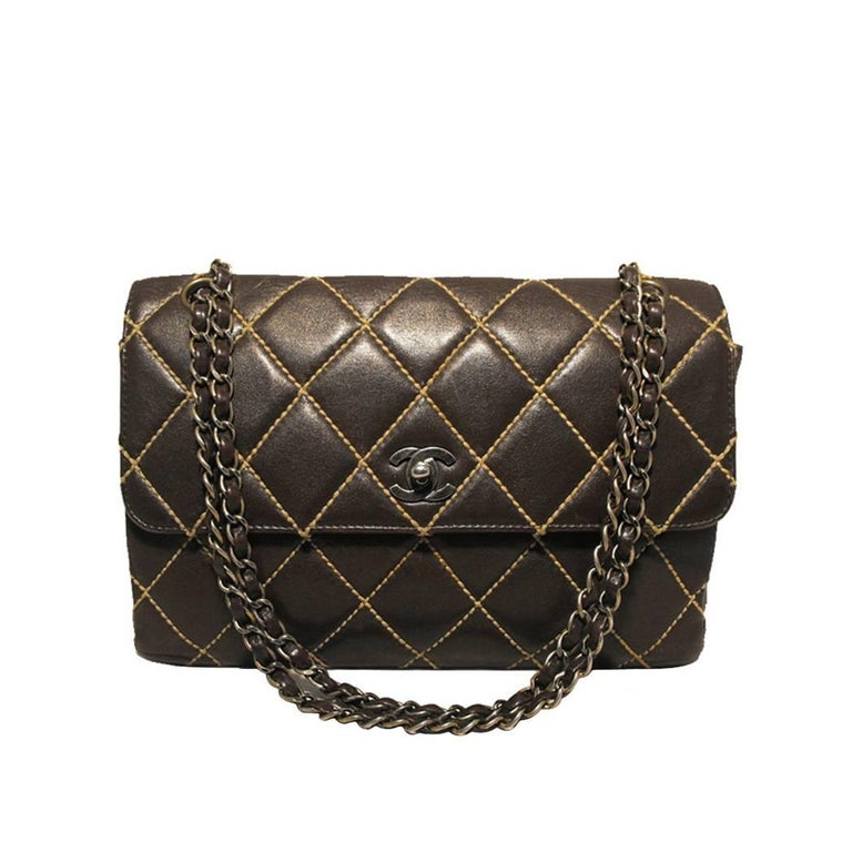 94c784438bcda1 Chanel Brown Leather Maxi Flap Topstitch Classic Shoulder Bag For Sale