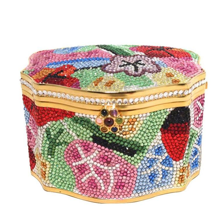 Judith Leiber Swarovski Crystal Floral Jewelry Box Minaudiere 1