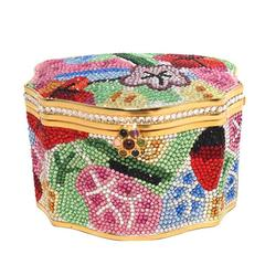 Judith Leiber Swarovski Crystal Floral Jewelry Box Minaudiere