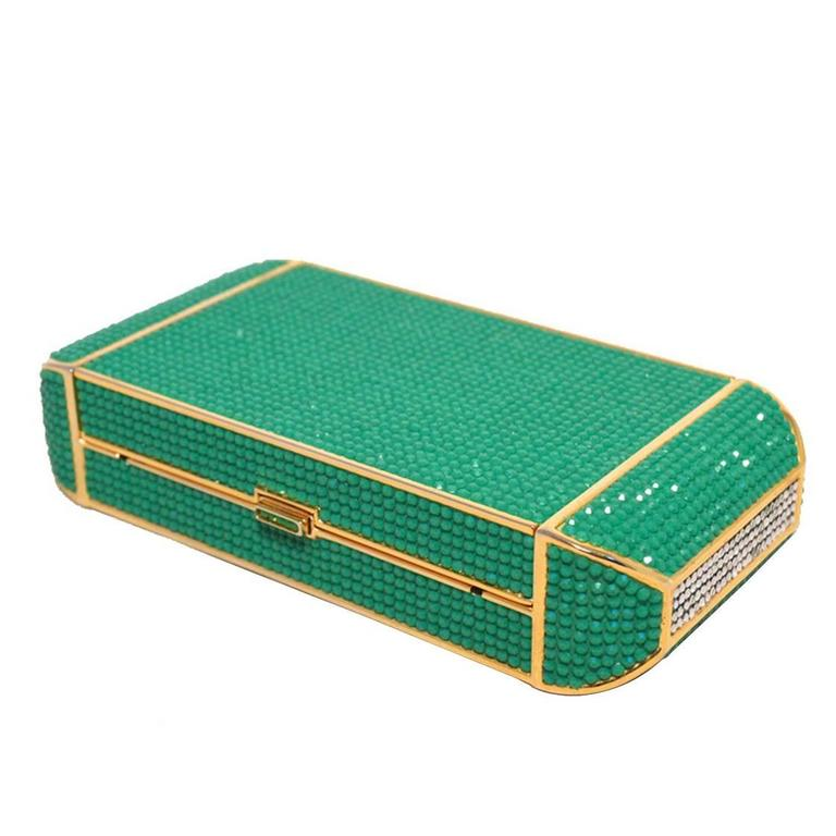 Judith Leiber Swarovski Crystal Green Minaudiere For Sale
