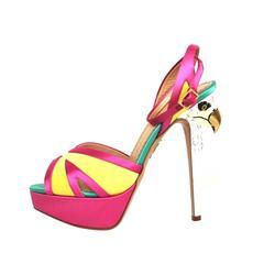 Charlotte Olympia Multicolor Satin Apache Eagle Sandal Peep Toe Heels