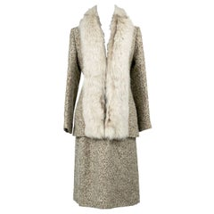 1970s Lilli Ann Vintage Tweed Skirt Suit W Fox Fur Trimmed Long Jacket