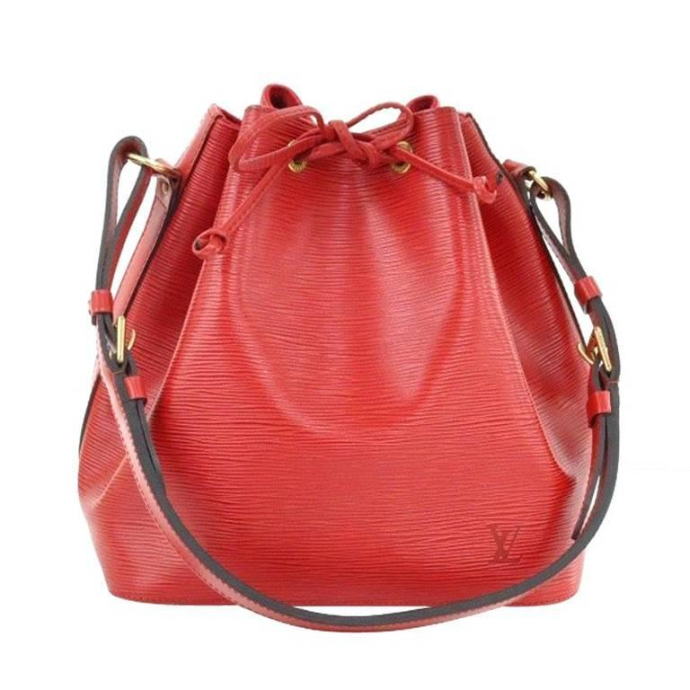 Louis Vuitton Epi Noe Red Leather Shoulder Drawstring Handbag