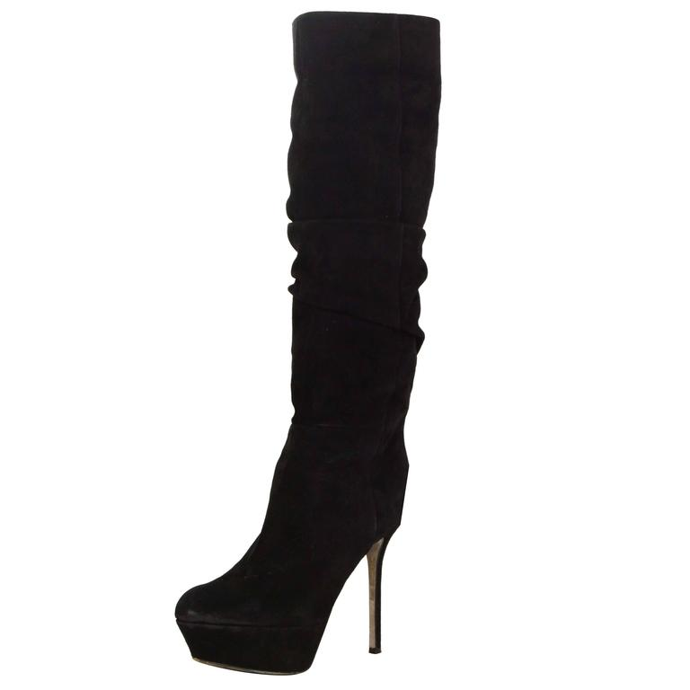 Sergio Rossi Black Suede Platform Boots sz 36.5 For Sale