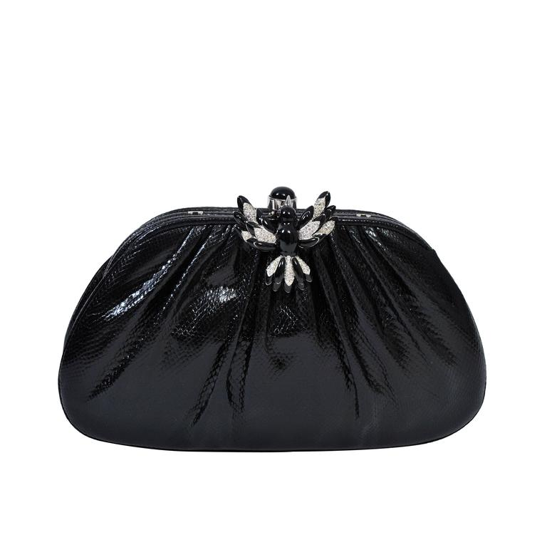 Judith Leiber Karung Clutch with Rhinestone Bird Clasp For Sale