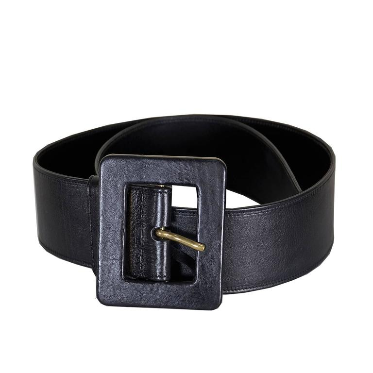 Classic Ysl Laurent Wide Leather Belt 36 For Sale At 1stdibs