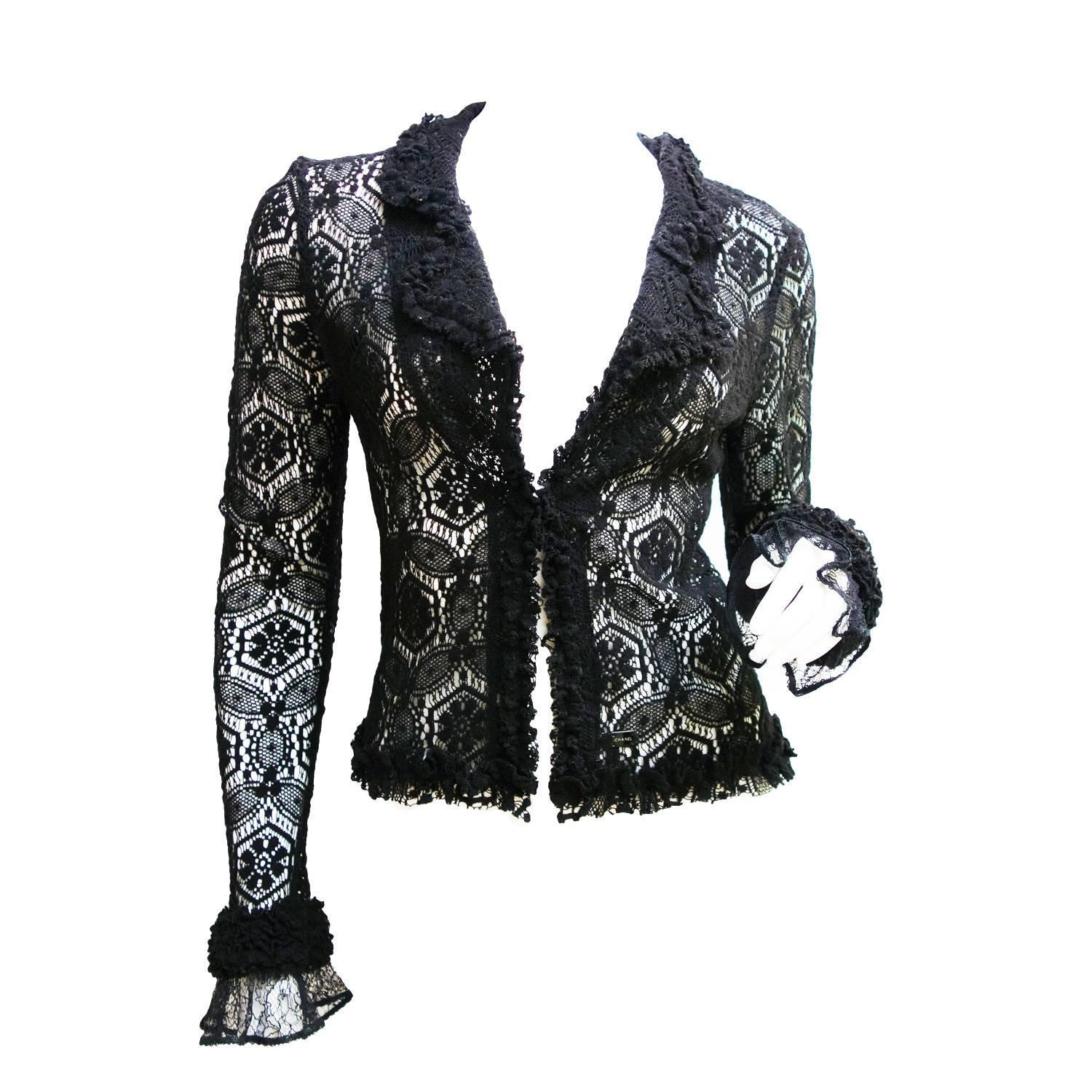 CHANEL Black Lace Cardigan Top 04A Size 38 at 1stdibs