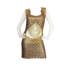 Important & Rare 1968 Paco Rabanne Metal Disc Dress Worn by Naomi Campbell