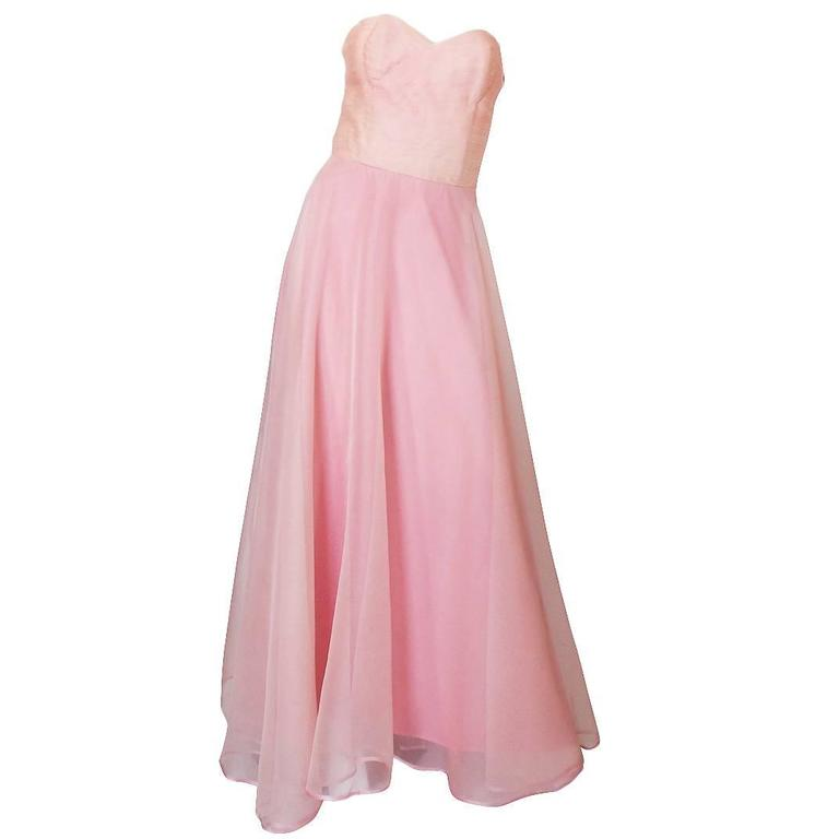 Dramatic 1975 Loris Azzaro Couture Pink Silk Gown & Cape 1