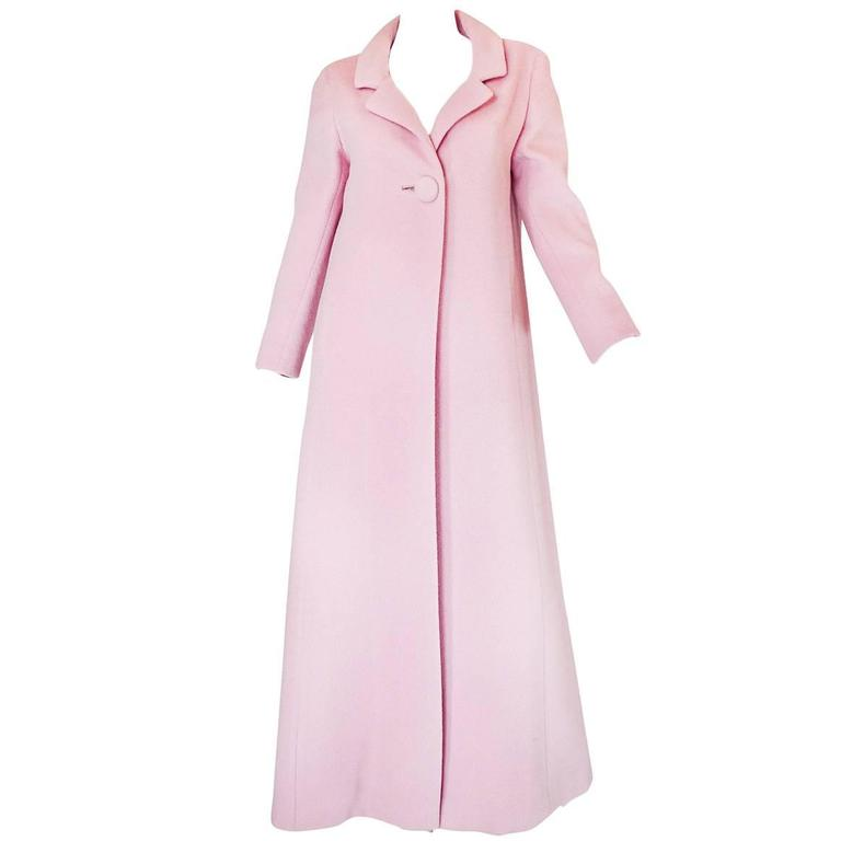 1960s Early Anne Klein Supermodel Length Pink Wool Coat 1