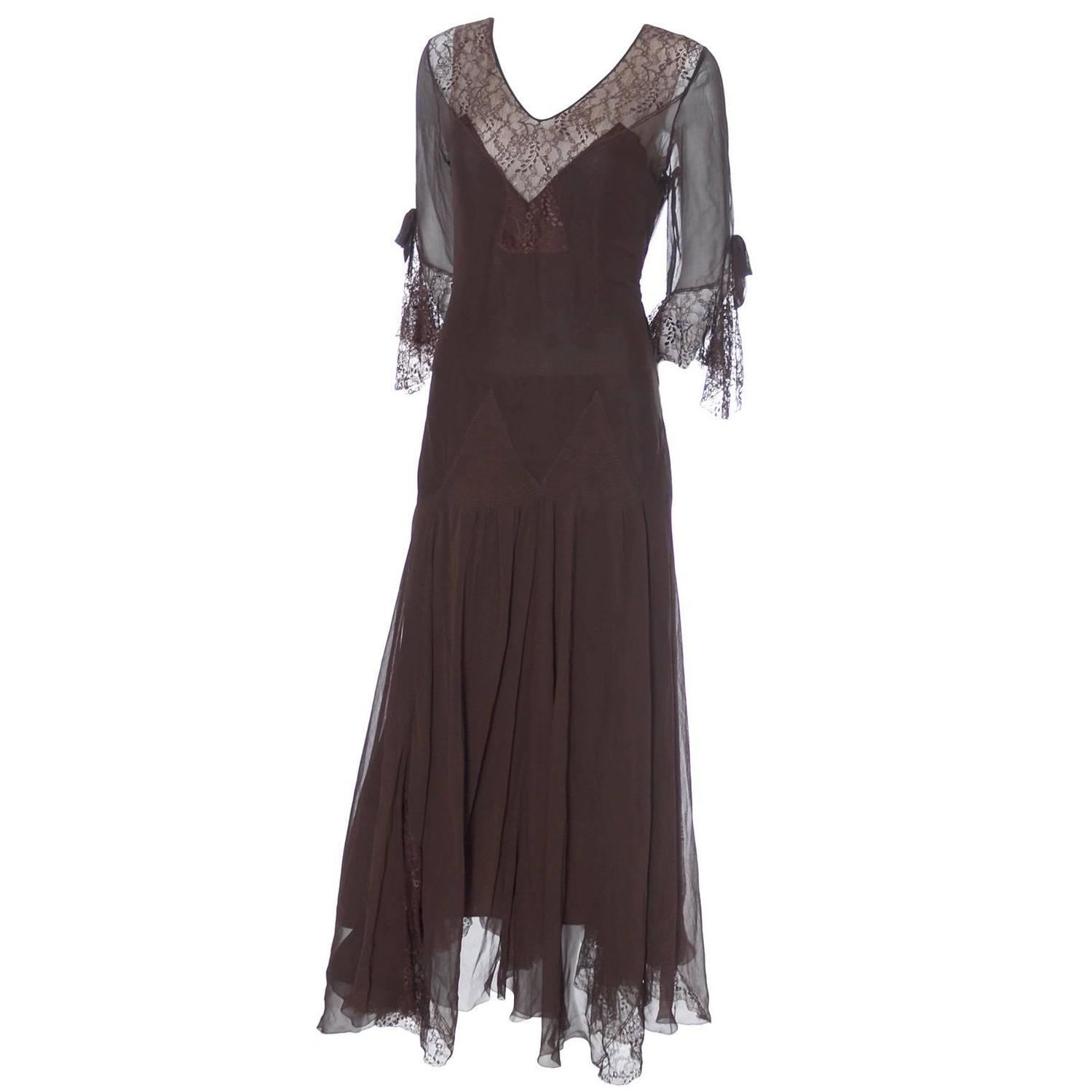 Silk chiffon vintage dress late 1920s early 1930 s evening gown fine