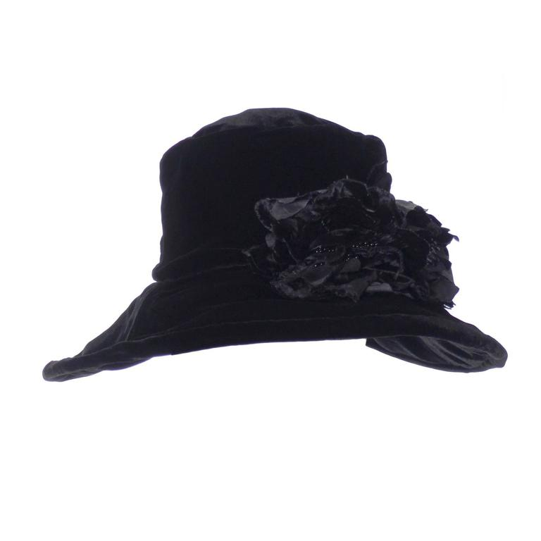 Donna Karan New York Vintage Hat Black Velvet Beaded Flowers Wide Brim NEW Tags 1