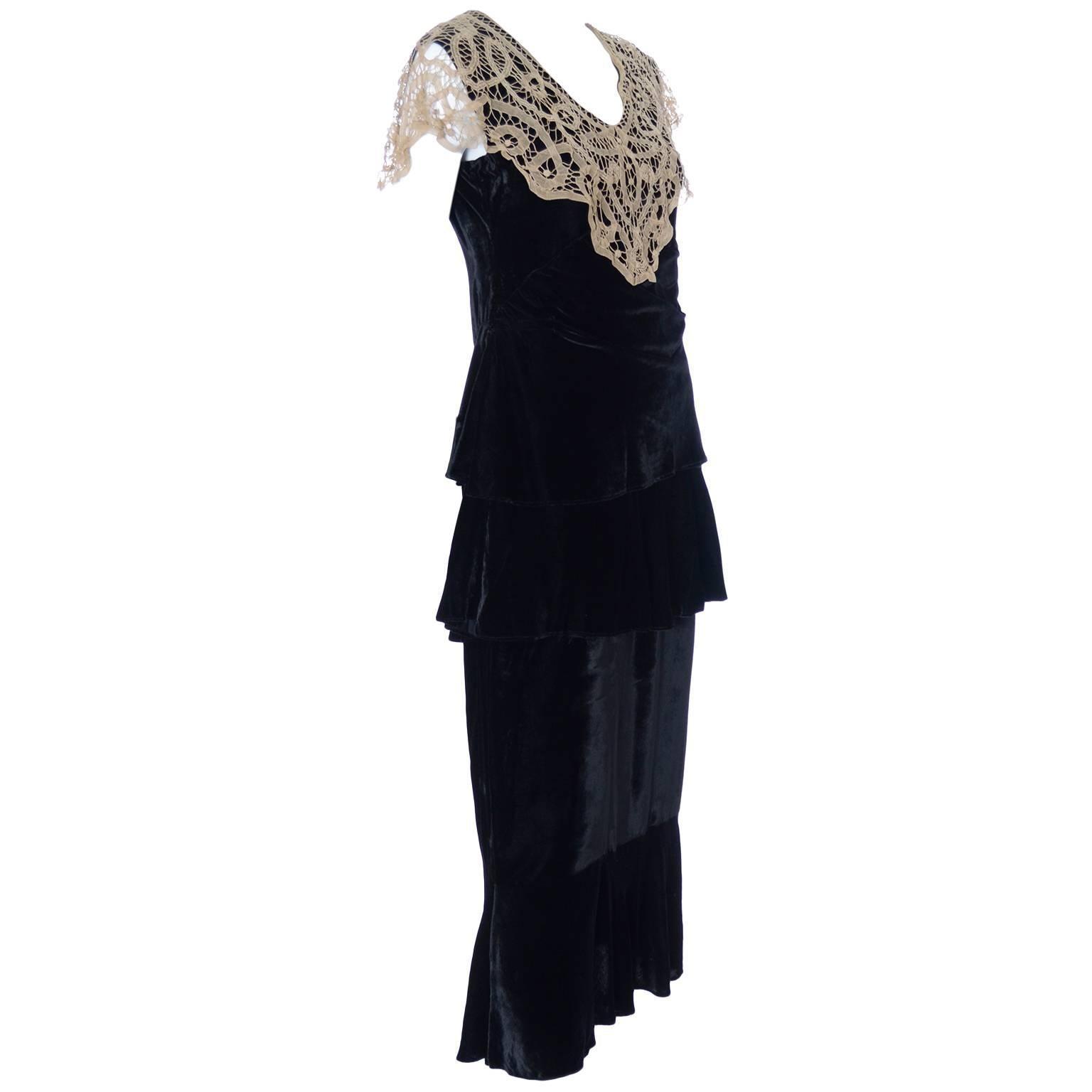1920s Vintage Dress and Opera Coat Ensemble Suit Outfit Velvet Lace