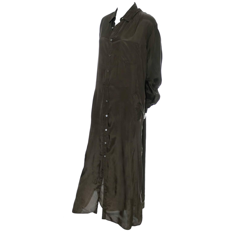 1980s vintage dress or long coat comme des garcons green rayon shirtdress for sale at 1stdibs. Black Bedroom Furniture Sets. Home Design Ideas