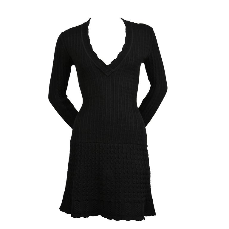 1990's AZZEDINE ALAIA jet black crocheted knit dress