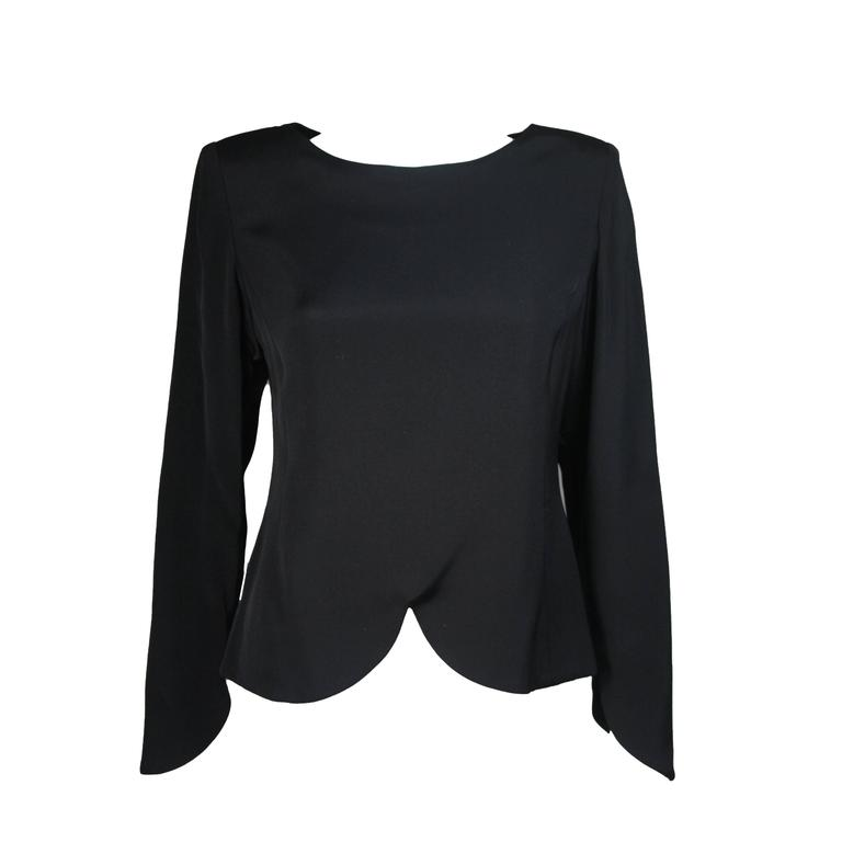 Galanos Black Silk Blouse with Drop Hem Size Medium Large