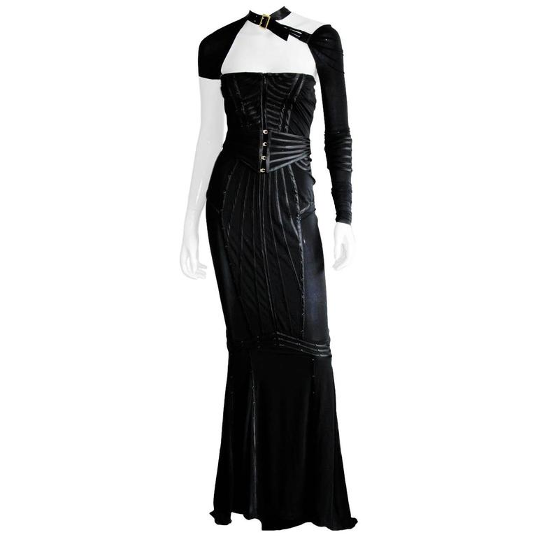 Incredibly Rare & Iconic Tom Ford Gucci FW 2003 Black Silk Corseted Runway Gown 1