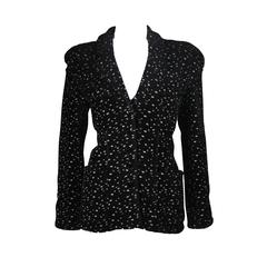 Giorgio Armani Black and White Speckle Wool Blend Jacket with Piping Size 46