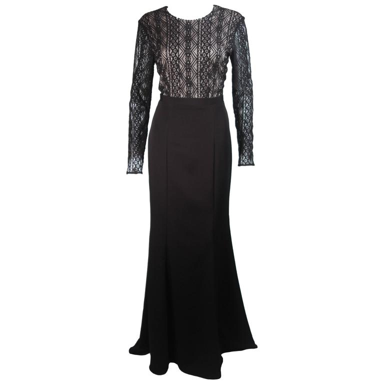 cc29140bd90 NAEEM KANH Black Jersey with Lace Evening Gown Size 8 For Sale at ...