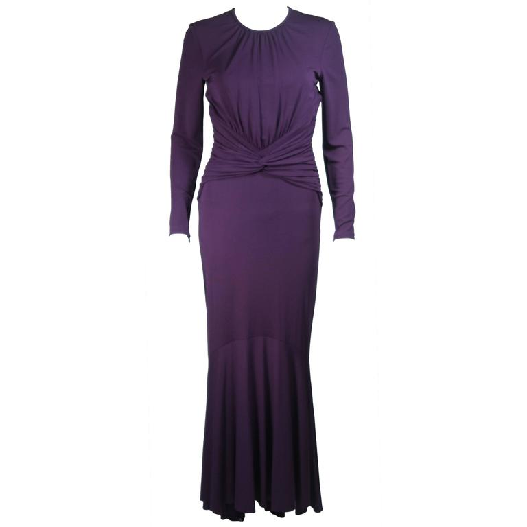MICHAEL KORS Purple Stretch Jersey Draped Gown with Open Back Size 10 1