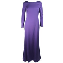 Emilio Pucci Purple Silk Long Sleeve Gown with Open Back Size Medium Large