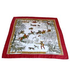 """Hermes Silk Carre Scarf """"L'Hiver"""" by Ledoux"""
