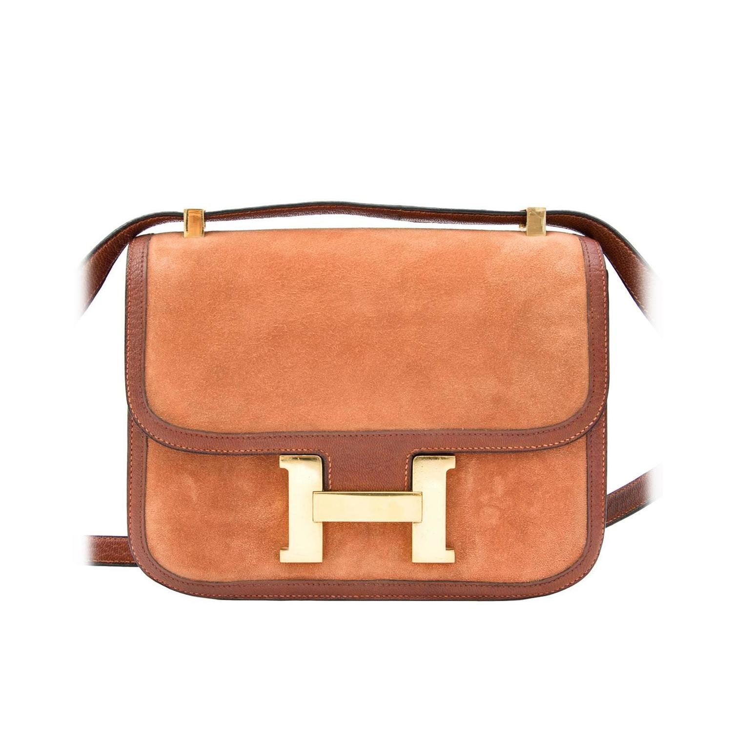 Hermes Constance Veau Doblis Suede Noisette 24cm For Sale at 1stdibs