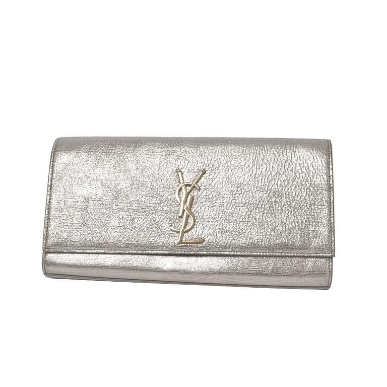 Ysl Yves Saint Laurent Cassandre Metallic Logo Clutch Bag