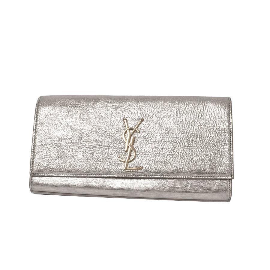 Ysl Yves Saint Laurent Cassandre Metallic Logo Clutch Bag