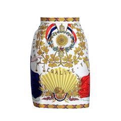 Hermes Skirt Liberte Egalite Fraternite Vintage Scarf Print Silk 40 / 6